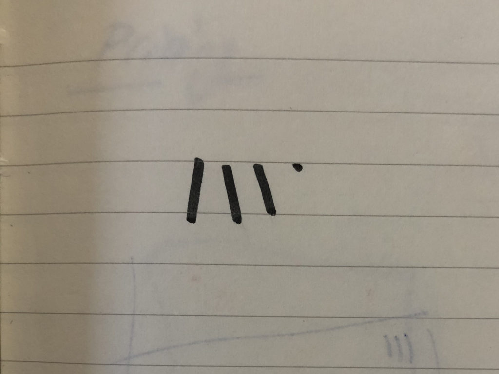 Der erste Scribble des leeway-Logos.