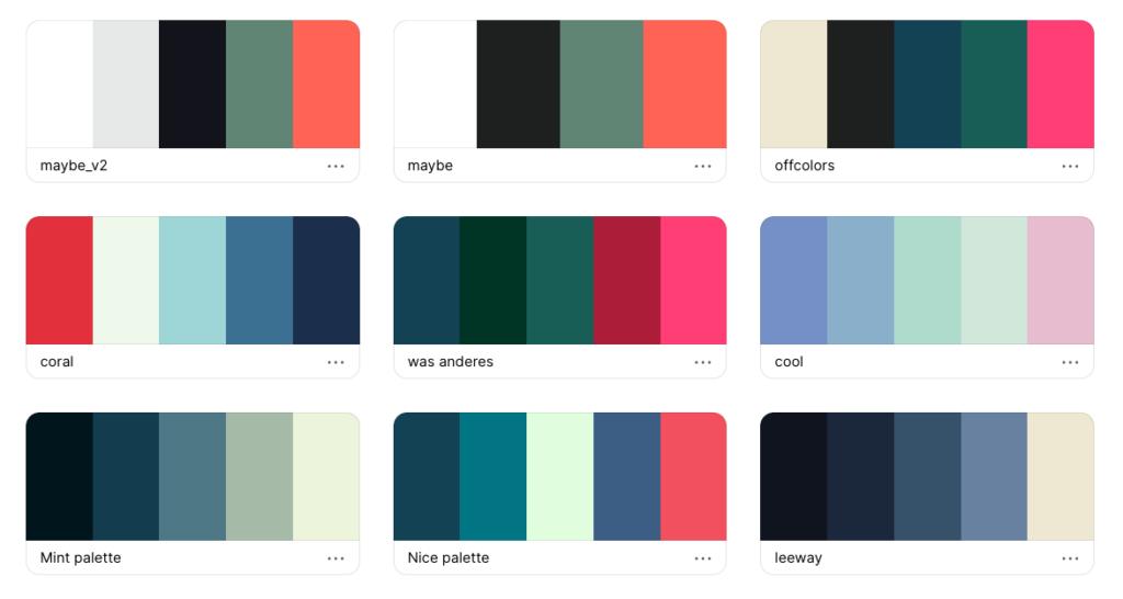 Die ursprünglichen Farbpaletten im Branding-Prozess.